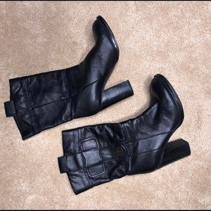 BCBG Black Leather Heeled Boots